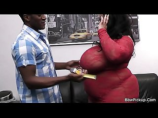 Interracial sex with picked up BBW in red lingerie