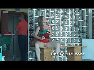 Flashing in the supermarket and blowjob in the elevator with emily real housewif