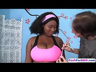 Cute bbw ebony marie leone showed wonderful Blowjob on persona A sexy workout hd
