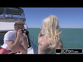 Horny teen slut marsha may deep throats big cock on a boat