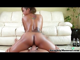 Ebony massage babe Skin Diamond cockriding