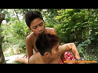 Asian teen twinks outdoor anal screwing