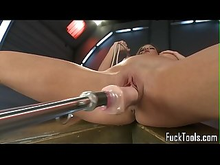Busty milf drilled with two dildo machine