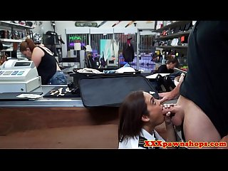 Pawnshop amateur sucking dick in busy store