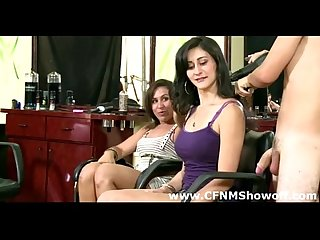 Hot cfnm amatuer girls takle on and suck naked male hairdreser
