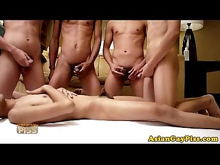 Gay asian piss lovers have a pee orgy