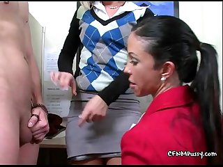 Two slut secretarys seducing two slave clients in office