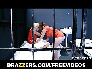 Nymphomaniac lesbian is fucked by her natural brunette cellmate