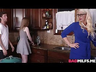 Horny mom and teen 3some fuck at the kitchen