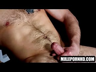 This hot muscular hunk is jerking his cock off