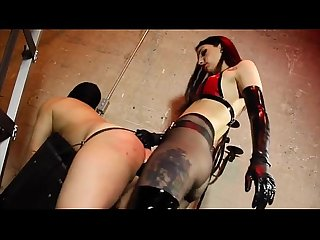 Mistress fucking slave with big black dildo