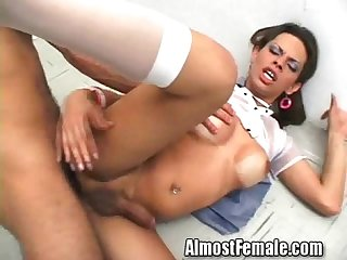 Tranny school girl gets ass pounded in class