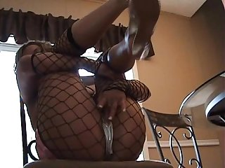 Shiny taylor silver panties rubbing pussy