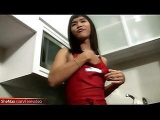 Feminine ladyboy maid fuck around the kitchen horny and wet