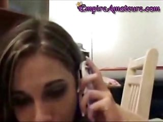 Hot teen fucked while she is on the phone