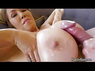 Busty asian milf Kianna dior cum facial from son