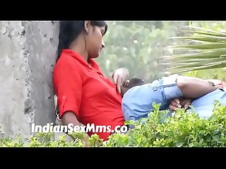 Desi babe offering her boobs as pillow to boyfriend caught in park lpar new rpar