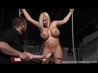 Busty slave Melanie moons electro tortures and strict german bdsm punishment of