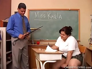 Big tits chubby student loves to give teacher a super sexy sloppy blowjob