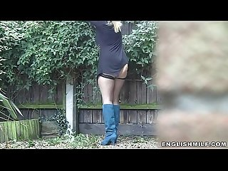 Big ass milf in stockings outdoor Upskirt