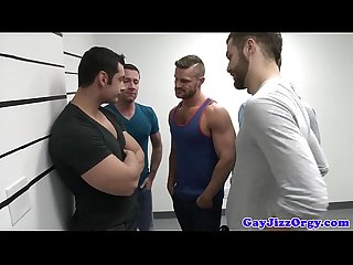 Gaysex orgy Hunks blow during mugshot