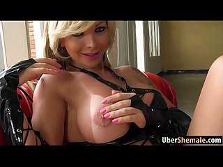 Busty big dick shemale Carlea blows and anal rides a big cock