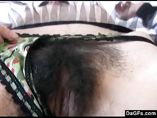 Emo showing her hairy bush