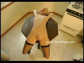 Blonde slut has her nipples clamped