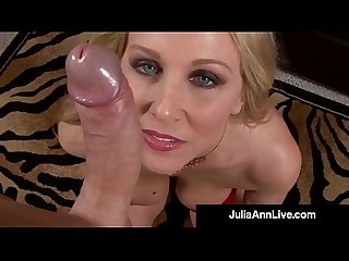 Dirty talking milf Julia ann sucks your hard wet cock pov