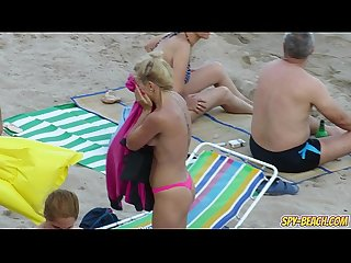 Hot big tits topless milfs voyeur Amateur beach Video