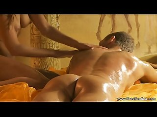 Stroking his hard cock massage