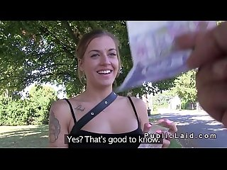 Amateur beauty shows boobs for money outdoors