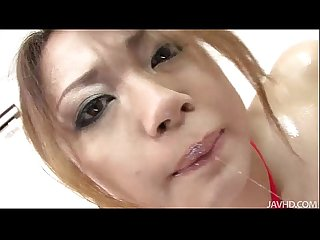 Sweet faced sara seori bound with pink rope for pleasure