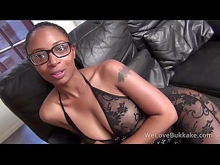 Fit black girl in glasses gets her face plastered