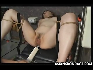Japanese slave gets pussy filled by cum