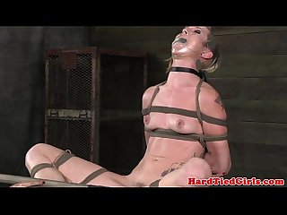 Tied up bdsm sub pussy stretch wide open