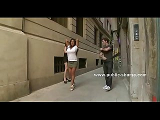 Busty slut on high heels public disgrace