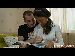 Playful pretty hot removes guy's