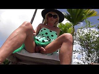 Joanna jet green polka dot dress