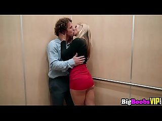 Sarah Vandella got stuck in the elevator with a lucky stud