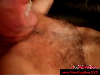 Amateur gay gives an old man a blowjob