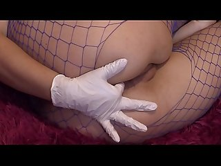 A girl in a sexy suit masturbates her ass and pussy period