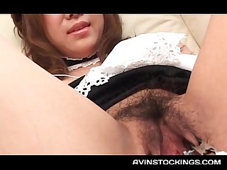 Jap maid experiencing pussy and tits teasing with toys