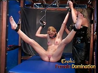 Naughty blonde slut gets tied up and has her cunt pleasured