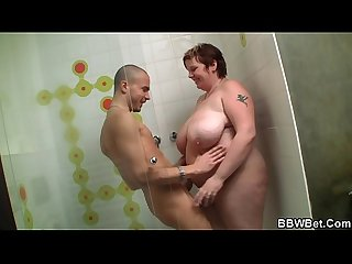 Busty huge ass fatty rides cock in the shower