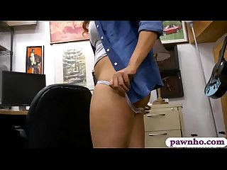 Brunette honey shows off ass and pounded by pawn man