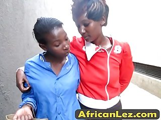 Super hot African lesbians playing in the shower