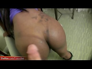 Ebony TS in sexy lingerie shakes her ass and strokes cock