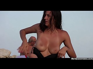 Topless beach teens voyeur hd video spy