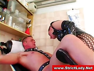 Slut gets it good and hard from bondage mistress dealing it out